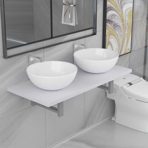 vidaXL Three Piece Bathroom Furniture Set Ceramic White