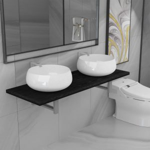 vidaXL Three Piece Bathroom Furniture Set Ceramic Black