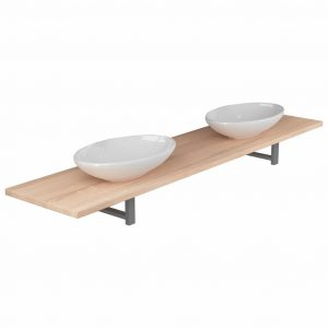 Three Piece Bathroom Furniture Set Ceramic Oak