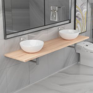 vidaXL Three Piece Bathroom Furniture Set Ceramic Oak