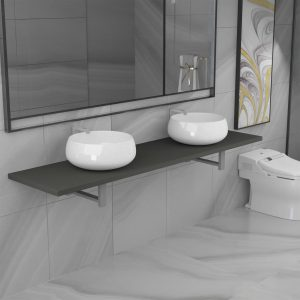 vidaXL Three Piece Bathroom Furniture Set Ceramic Grey