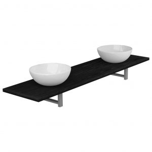 Three Piece Bathroom Furniture Set Ceramic Black