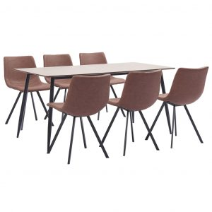 vidaXL 7 Piece Dining Set Medium Brown Faux Leather