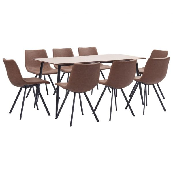 vidaXL 9 Piece Dining Set Medium Brown Faux Leather
