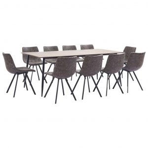 vidaXL 11 Piece Dining Set Brown Faux Leather