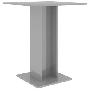 Bistro Table High Gloss Grey 60x60x75 cm Chipboard