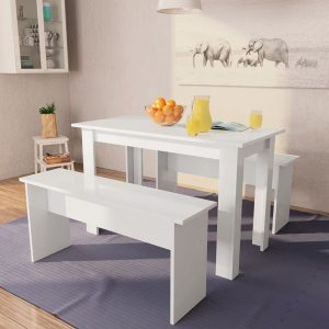 vidaXL Dining Table and Benches 3 Pieces Chipboard White