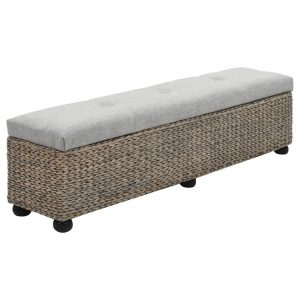 vidaXL Bench Seagrass 140x29x36 cm Grey