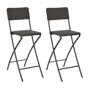 vidaXL Folding Bar Chairs 2 pcs HDPE and Steel Brown Rattan Look