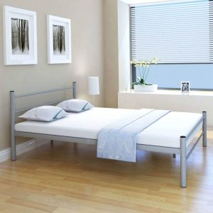vidaXL Bed Frame Grey Metal Double Size