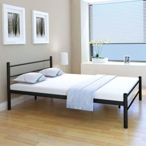 vidaXL Bed Frame Black Metal Double Size