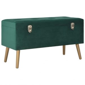 vidaXL Bench with Storage Compartment 80 cm Green Velvet