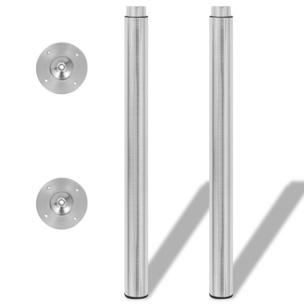 Telescopic Table Legs 2 pcs Brushed Nickel 710 mm-1100 mm