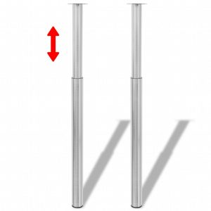 vidaXL Telescopic Table Legs 2 pcs Brushed Nickel 710 mm-1100 mm