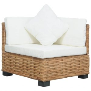 vidaXL Corner Sofa with Cushions Natural Rattan