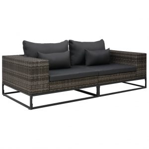 vidaXL 2 Piece Garden Sofa Set with Cushions Poly Rattan Grey