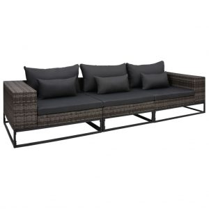 vidaXL 3 Piece Garden Sofa Set with Cushions Poly Rattan Grey