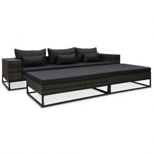 vidaXL 5 Piece Garden Sofa Set with Cushions Poly Rattan Grey
