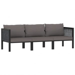 vidaXL 3-Seater Sofa with Cushions Anthracite Poly Rattan