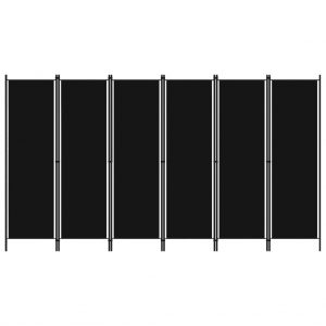 vidaXL 6-Panel Room Divider Black 300×180 cm