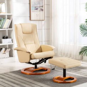 vidaXL Massage Chair with Footstool Cream Faux Leather