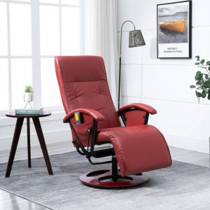 vidaXL Massage Chair Wine Red Faux Leather