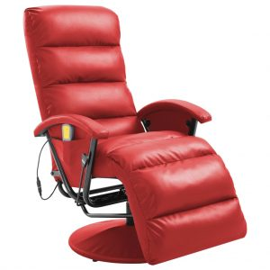 vidaXL TV Massage Recliner Red Faux Leather