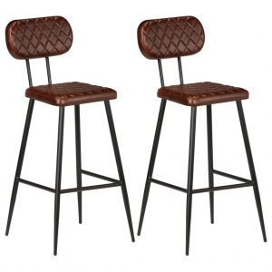 vidaXL Bar Chairs 2 pcs Brown Real Leather