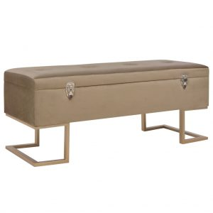 vidaXL Bench with Storage Compartment 105 cm Beige Velvet
