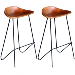 vidaXL Bar Chairs 2 pcs Black and Brown Real Leather