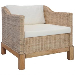 vidaXL Armchair with Cushions Natural Rattan
