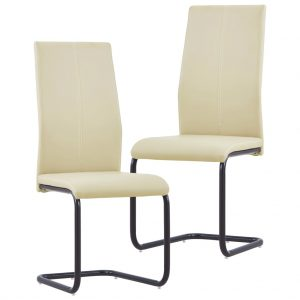 vidaXL Cantilever Dining Chairs 2 pcs Cappuccino Faux Leather