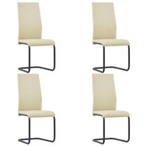 vidaXL Cantilever Dining Chairs 4 pcs Cappuccino Faux Leather