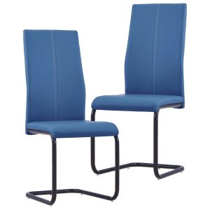 vidaXL Cantilever Dining Chairs 2 pcs Blue Faux Leather