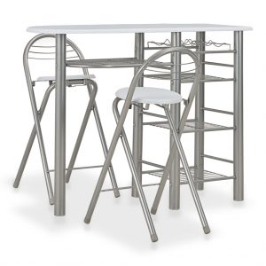 vidaXL 3 Piece Bar Set with Shelves Wood and Steel White