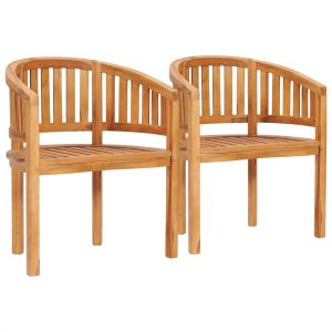 vidaXL Banana Chairs 2 pcs Solid Teak Wood