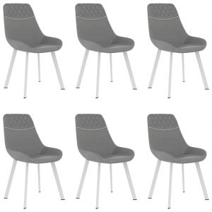 vidaXL Dining Chairs 6 pcs Light Grey Faux Leather