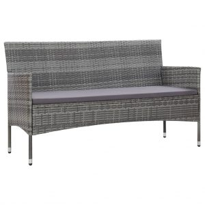 vidaXL 3-Seater Garden Sofa with Cushions Grey Poly Rattan
