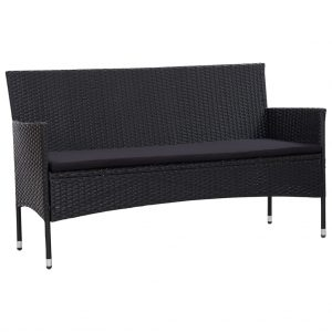 vidaXL 3-Seater Garden Sofa with Cushions Black Poly Rattan