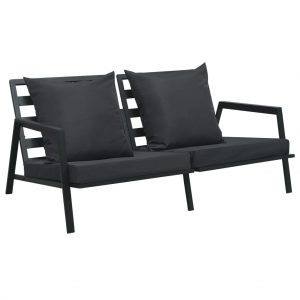 vidaXL Garden 2-Seater Sofa with Cushions Dark Grey Aluminium