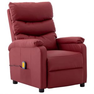 vidaXL Massage Reclining Chair Wine Red Faux Leather