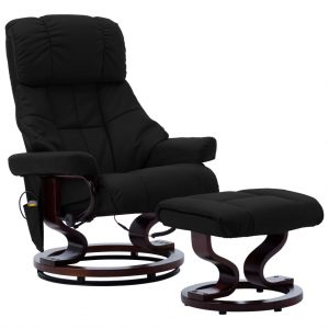 vidaXL Massage Reclining Chair Black Faux Leather and Bentwood