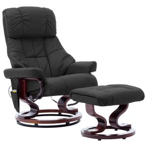 vidaXL Massage Reclining Chair Grey Faux Leather and Bentwood