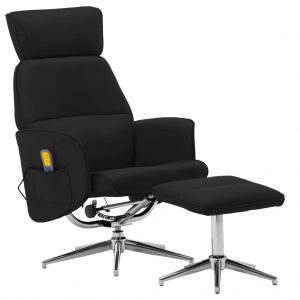 vidaXL Massage Reclining Chair with Footstool Black Faux Leather