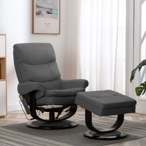 vidaXL Massage Reclining Chair Anthracite Faux Leather and Bentwood