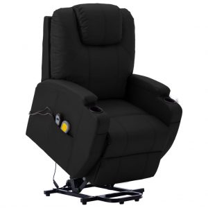 vidaXL Stand-up Massage Recliner Black Faux Leather (AU only)