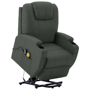 vidaXL Stand-up Massage Recliner Anthracite Faux Leather (AU only)