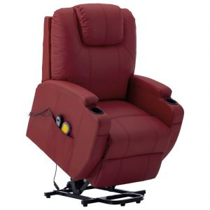 vidaXL Stand-up Massage Recliner Wine Red Faux Leather (AU only)