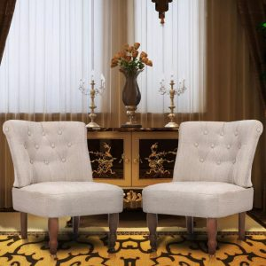 vidaXL French Chairs 2 pcs Cream Fabric