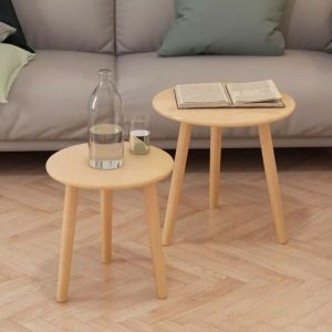 vidaXL Side Table Set 2 Pieces Solid Pinewood Brown